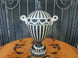 Wedgwood Black Jasperware Engine Turned Urn Bacchus Heads Swags Bows Round Base