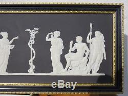 Wedgwood Black Jasperware Hercules in the Garden of Hesperides Framed Plaque