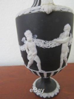 Wedgwood Black dipped jasperware Bacchanalian with engine turned handled vase