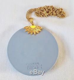 Wedgwood Black on Blue Medusa Jasperware Pendant with gold coloured chain