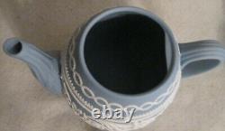 Wedgwood Blue Arabesque Jasperware 250 Anniversary Teapot Mint Very Rare