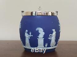 Wedgwood Blue JASPERWARE Antique Biscuit Barrel Jar & Lid Circa 1800s