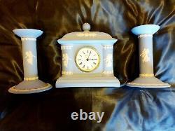 Wedgwood Blue Jasper Dancing Hours Bicentenary Clock & Candlesticks with Certs