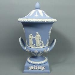 Wedgwood Blue Jasper Ware Campana Vase & Cover C. 1987