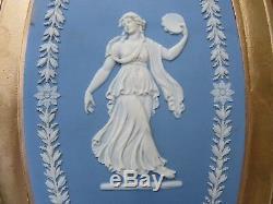 Wedgwood Blue Jasper Ware Dancing Hour Bert Bentley Framed Oval Plaque (c. 1890s)