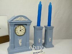 Wedgwood Blue Jasper Ware Millennium 2000 Mantel Clock & matching Candlesticks