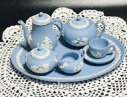 Wedgwood Blue Jasper Ware Miniature Teaset