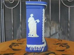 Wedgwood Blue Jasper Ware Muses Offering to Peace Mantle Desk Clock (c. 1895)
