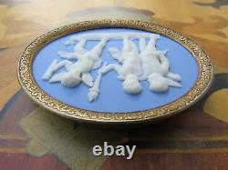 Wedgwood Blue Jasper Ware Sacrifice to Hymen Plaque Cameo Brass Frame (c. 1800)