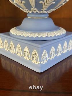 Wedgwood Blue Jasperware 11 3/4 Vase Urn Muses Signed By Tony Baggott 1969
