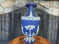 Wedgwood Blue Jasperware 15 Tall Muses Trophy Vase Urn (c. 1910)