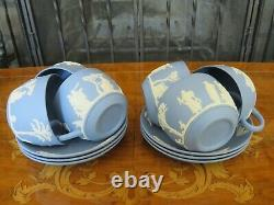 Wedgwood Blue Jasperware 23 Piece Proper Tea Set Service & Plates for 6 (1956)