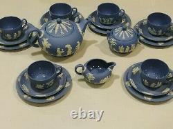 Wedgwood Blue Jasperware 23 Piece Tea Set Service Plates for 6 EUC