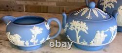 Wedgwood Blue Jasperware 4 pc Coffee / Tea Set Coffee Pot Teapot Cream Sugar