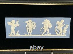Wedgwood Blue Jasperware Framed The Seasons Plaque Four Seasons Cherubs
