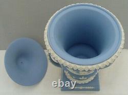 Wedgwood Blue Jasperware Large Lidded Urn Vase Loop Handles