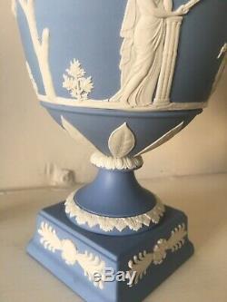 Wedgwood Blue Jasperware Lidded Covered Urn Blue And White