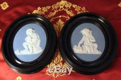 Wedgwood Blue Jasperware Medallion Cherub/Angel Black Oval Frame withHang Ring #2
