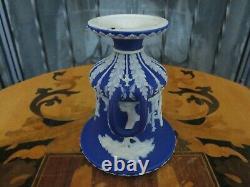 Wedgwood Blue Jasperware Miniature Covered Potpourri Campana Urn Vase (c. 1872)