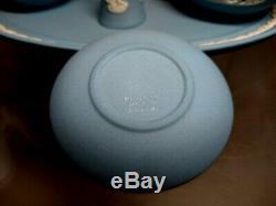Wedgwood Blue Jasperware Miniature Tea & Coffee Set 13 Piece with Bell VG-Ex HTF