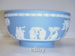 Wedgwood Blue Jasperware Round Vegetable Bowl Sacrifice Pattern