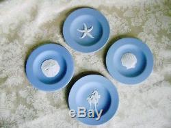 Wedgwood Blue Jasperware Scallop, Seahorse, Sand Dollar & Starfish Plates