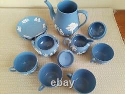 Wedgwood Blue Jasperware Teapot Creamer Sugar Bowl & 4 Cups WithSaucers Set
