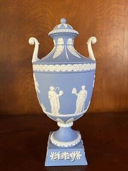 Wedgwood Blue Jasperware Urn Vase With Lid Muses
