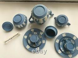 Wedgwood Blue jasperware Coffee pot / 2 Cups/saucers/side plates etc