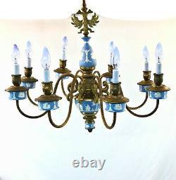 Wedgwood & Brass 8 Light 27 Chandelier Blue/White Jasperware Hanging Lamp