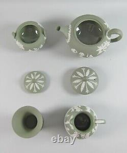 Wedgwood CREAM ON CELEDON Jasperware Teapot, Sugar, Etruscan Jug, Posy Vase