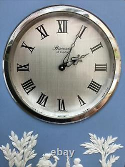 Wedgwood Cathedral Jasper Ware Clock in Blue with Swiss Baronet movement