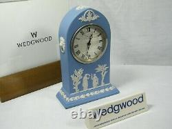 Wedgwood Cathedral Jasper Ware Clock in Blue with Swiss movement Superb