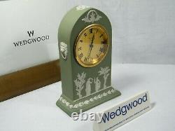 Wedgwood Cathedral Jasper Ware Clock in Green with Swiss movement Superb