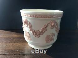 Wedgwood Classic Powder Pink Jasperware Jardiniere Vase Planter Cache Pot