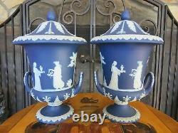 Wedgwood Cobalt Blue Jasperware Campana Lidded 10 1/2 Urn Vase Pair (c. 1890s)