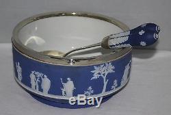 Wedgwood Cobalt Blue Jasperware Large Salad Bowl & Servers c1925/vgc