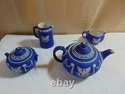 Wedgwood Cobalt Dip Jasper Tea Set Sesquicentennial George Washington 1789-1939