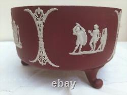 Wedgwood Crimson Dipped Jasperware Footed Centerpiece Bowl 7.5
