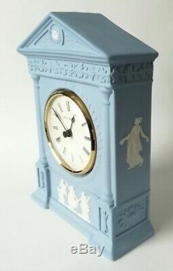 Wedgwood Dancing Hours Mantel Clock Blue Jasperware Working