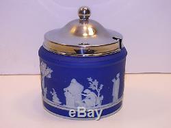 Wedgwood Dark Blue Dip Jasper Ware Marmalade Jar c. 1880
