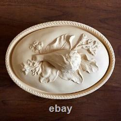 Wedgwood Decorative Covered Dish Tan Bisque Porcelain Caneware Jasperware Yellow