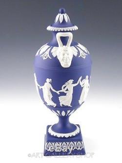 Wedgwood England JASPERWARE DARK BLUE DANCING HOURS 10-5/8 TALL VASE URN Rare