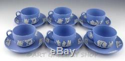 Wedgwood England Jasperware Blue GRECIAN COFFEE CUPS AND SAUCERS Set of 6 Unused
