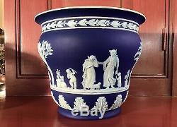 Wedgwood England Jasperware Cobalt Blue Planter Cache Pot c. 1912