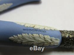 Wedgwood England Silverplate Forks Set Light Blue Jasperware 7 1/2 L Xlnt Cond