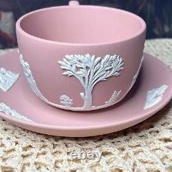 Wedgwood Flat Cup & Saucer Set Cream Color on Pink Jasperware