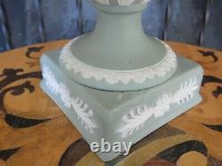 Wedgwood Green Jasperware Lidded Pedestal Urn Vase Apollo Muses, c. 1920s AS IS