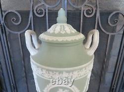 Wedgwood Green Jasperware Lidded Pedestal Urn Vase Muses Urania Erato, c. 1920s