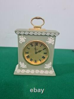 Wedgwood Green Jasperware Mantel Clock Swiss Movement Working